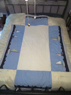 Pottery Barn Kids Crib Skirt Ocean Waves With Appliqued Sailboats 52 X 28 X 16