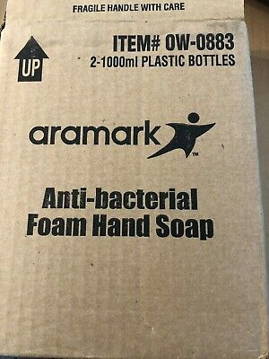 Case of 2 Aramark Anti-bacterial Foam Hand Soap Refill 1000 Ml Plastic Bottle
