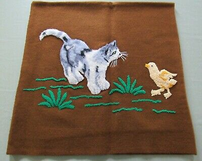 "ESTATE Antique StumpWork CAT Kitten Baby Chick on Wool Felt 18x18"" Pillow Cover"