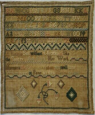 Small Early 19Th Century Quotation, Motif & Alphabet Sampler By Ann Finch - 1809