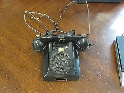 Vintage Table Top Rotary Dial Phone PTT Made in Holland Black Bakelite Art Deco