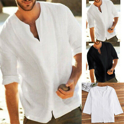 Fashion Mens Linen Short Five-point Sleeve Summer Solid Shirts Casual Loose Tops
