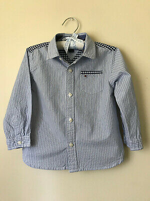 Tommy Hilfiger 2T Blue Button Down Shirt Toddler Boy Clothes Plaid Stripe