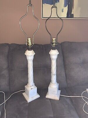 pair of vintage carved white solid alabaster marble brass electric table lamps