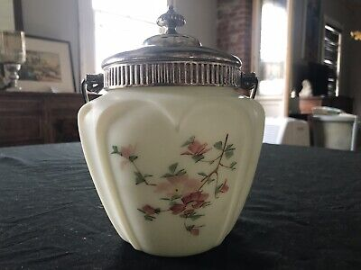 Antique Opal Glass Biscuit Jar Frosted Hand Painted Floral Pattern Plated Top