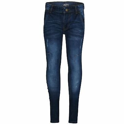 Kids Boys Skinny Jeans Blue Denim Ripped Bikers Slim Fit Stretchy Pants Trousers