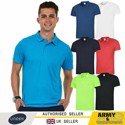 Uneek Mens Ultra Cool Polo Shirt 140gsm 100% Polyester Breathable Fabric Work