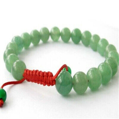 8mm Green Jade Bracelet Bead Meditation Lucky energy men 7.5inches pray Stretchy