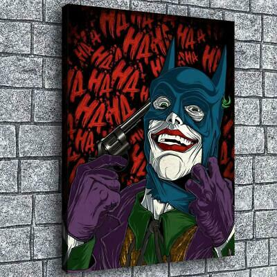 "12""x16"" Clown and Batman 2 HD Canvas prints Painting Home decor Wall art Picture"