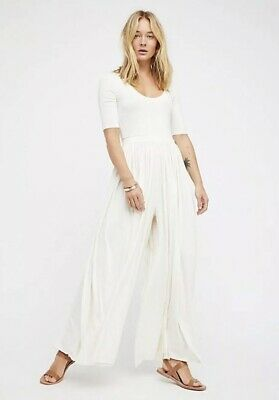 NEW Free People Beach Rosebowl Romper Size Small White Wide Leg Jumpsuit