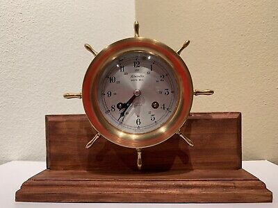 Schatz Ships Bell 8 Day 7 Jewels Clock Mounted On Stand Working
