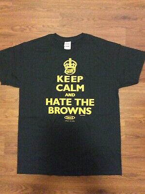 992008a6 NFL Pittsburgh Steelers Keep Calm / Hate The Browns Smack Apparel L Large  Black