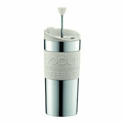 Bodum Coffee Travel Press With Extra Lid Stainless Steel - Off White - 0.35 L