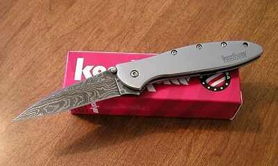 KERSHAW New Ken Onion Design Leek Plain Edge Damascus Blade Knife/Knives