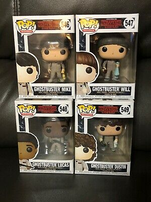 Funko POP! Stranger Things Ghostbuster Will Dustin Lucas Mike Set!!