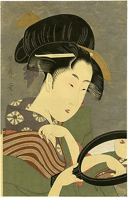 "Antique UTAMARO Japanese ukiyo-e woodblock reprint: ""BEAUTY WITH HAND MIRROR"""