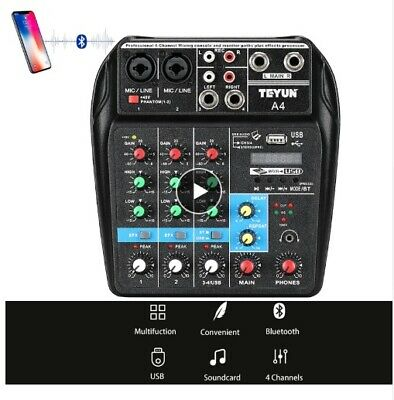 A4 4Channels Audio Mixer Sound Mixing Console with Bluetooth USB Record DJ Mixer