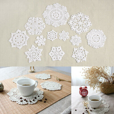 24 Floral Snowflake Pattern Hand Crochet Cotton Doilies Coaster For Cup Glass