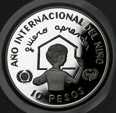 1982 Dominican Republic 10 Pesos Silver Proof Coin Unicef Year of the Child GEM