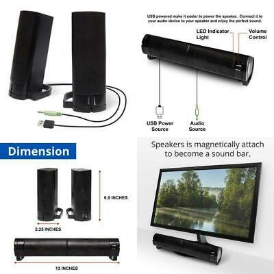 550fb000e Computer USB Powered Monitor Speaker Sound Bar 3.5mm Audio Wired Soundbar  Speake