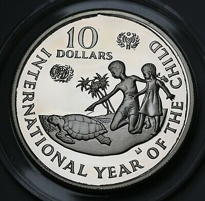 1982 Cayman 10 Dollars $10 Silver Proof Coin Year of the Child GEM UCAM KM# 72