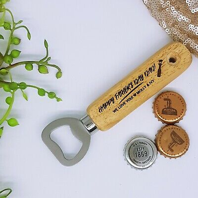 Personalised timber bottle opener Fathers Day engraved gift Birthday Beer Wooden