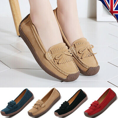 Womens Moccasins Deck Ladies Lazy Casual Boat Loafers Slip On Soft Comfort Shoes