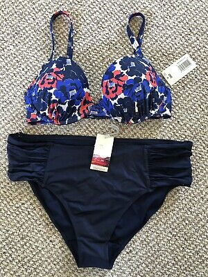 04ab15342f Matalan Navy Floral Bikini Bottoms 16 Padded Moulded Top 34 D Brand New