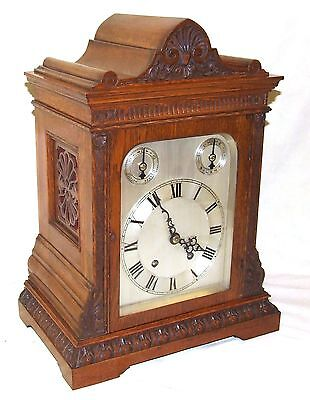 Winterhalder & Hoffmeier W & H Antique Oak TING TANG Bracket Mantel Clock (a23)