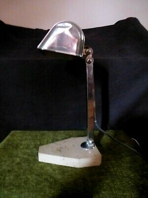 French Art Deco Chrome & Marble Poseable Desk Lamp Stamped Artisinat Francais