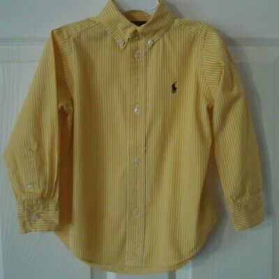 Ralph Lauren Toddler Boy's Long Sleeve Yellow Gold White Striped Shirt Size 3T