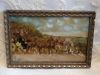 Antique 19th Century Oil On Board, Horses Carriage & Fox Hunting Scene With Dogs