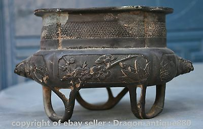 "8"" Xuande Marked Old Rare Chinese Bronze Flower Pine Beast Incense Burner Censer"