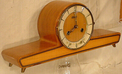 Franze Hermle Art Deco Mantel Shelf Clock 8 Day Retro vintage pendule W/Key Old