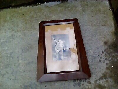 """Art Deco Wood And Glass picture/ photo frame + original Scotty dog print 18"""" H.."""