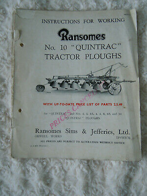 @Vintage Ransomes No 10 Quintrac Tractor Ploughs Instructions & Parts Book@