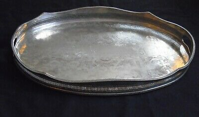 Huge Vintage Sheffield Silver Plated On Copper Chased Rise & Fall Gallery Tray
