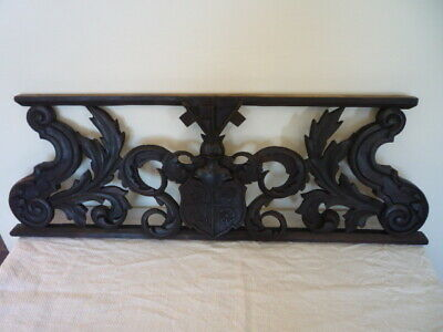 Victorian Gothic Carved Panel With Coat Of Arms Crest Knight Armour