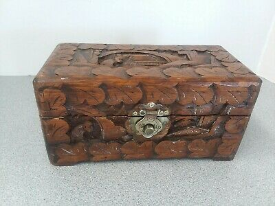 Antique Chinese Wooden Camphor Chest Hand Carved Box Vintage