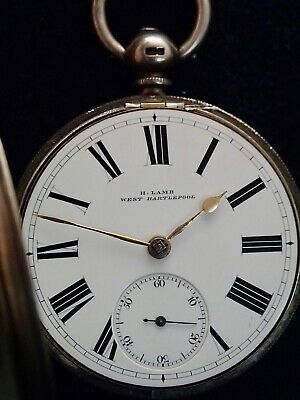 H.LAMB West Hartlepool Solid Silver English Fusee Pocket Watch London 1874
