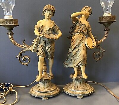 Pair Art Nouveau Spelter French Figural Newel Torchiere Lamp Gypsy