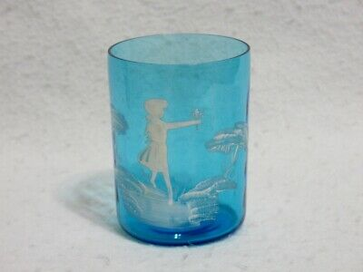 Mary Gregory Blue Glass Tumbler - Girl With Flower