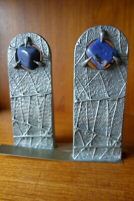 Chlada design pewter bookends Handmade in Austria Mid 20th century Unusual
