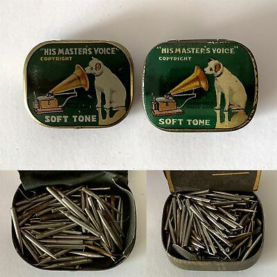 2x Different HIS MASTERS VOICE Soft Tone Gramophone Phonograph Tins + Needles