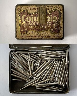 COLUMBIA Soft Tone Gramophone Phonograph Needle Tin + Contents