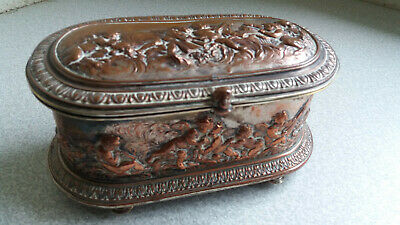 Antique French Silver Plated / Copper Jewellery Casket - 19Th C Maker L. Oudry