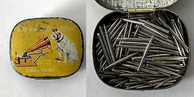 Antique HIS MASTERS VOICE Half Tone Gramophone Phonograph Needle Tin & Contents