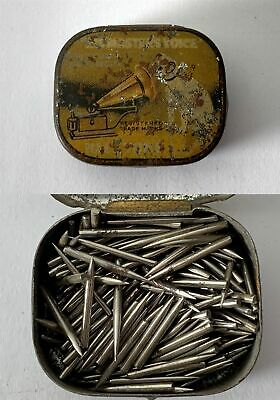 Antique HIS MASTERS VOICE Half Tone Gramophone Phonograph Needle Tin + Contents