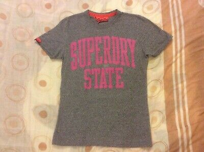 """Superdry State Vintage Men's Grey Marl T-shirt Tee Size Small Pit 2 Pit 18.5"""" GC"""