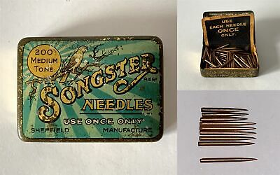 Vintage SONGSTER Brand Medium Tone Gramophone Phonograph Needle Tin and Contents